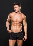Pánské boxerky, jocksy, slipy a tanga: Boxerky s průsvitnými proužky, černé