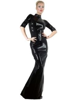 Dlouhé latexové šaty se stojáčkem a krátkými rukávy