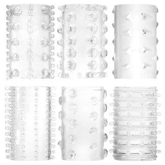 Transparentní super-elastické návleky na penis (sada 6 ks)