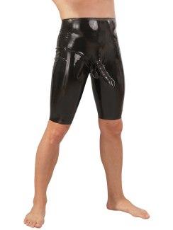Latexové šortky s kapsou na penis a varlata, černé