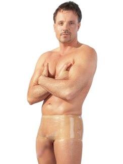Latexové boxerky s kapsou na penis a varlata, transparentní