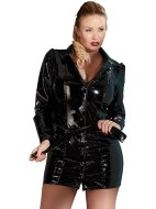 Dámské lakované prádlo (lack, vinyl): Lakovaný plus size kabát/šaty s páskem