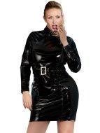 Dámské lakované prádlo (lack, vinyl): Lakované plus size šaty s dlouhými rukávy a páskem