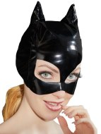 Dámské lakované prádlo (lack, vinyl): Lakovaná maska s kočičíma ušima (Black Level)
