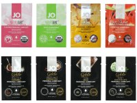 Lubrikační gely s příchutí, na orální sex: Ochutnávkový balíček lubrikačních gelů System JO