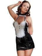 Dámské lakované prádlo (lack, vinyl): Lakovaný kostým Servírka (minišaty zdobené krajkou)