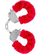 Pomůcky na bondage (svazování): Kovová pouta na ruce s plyšovým kožíškem (červená)