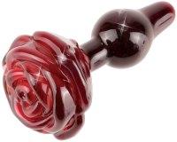 Skleněné a kovové anální kolíky: Skleněný anální kolík s růží ICICLES No. 76 (Pipedream)