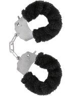 Pomůcky na bondage (svazování): Kovová pouta na ruce s plyšovým kožíškem (černá)