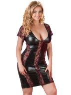 Dámské prádlo ve větších velikostech: Lesklé šaty s průsvitnými krajkovými vsadkami