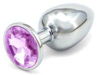 Anální kolíky s ozdobným krystalem: Malý kovový anální kolík s krystalem - světle fialový