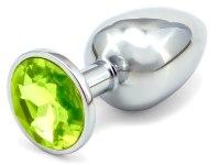 Anální kolíky s ozdobným krystalem: Malý kovový anální kolík s krystalem - světle zelený