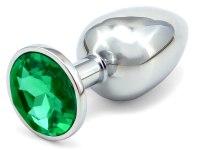 Anální kolíky s ozdobným krystalem: Malý kovový anální kolík s krystalem - tmavě zelený
