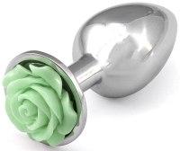 Skleněné a kovové anální kolíky: Kovový anální kolík s růžičkou - světle zelený