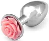 Skleněné a kovové anální kolíky: Kovový anální kolík s růžičkou - světle růžový