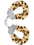 Pouta na ruce: Kovová pouta na ruce s plyšovým kožíškem (leopard)