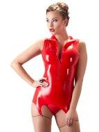 Dámské latexové oblečení: Červený latexový top se zipem a podvazky